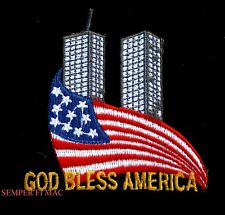 GOD BLESS AMERICA USA FLAG TWIN TOWERS PATRIOTIC MILITARY PATCH WOW
