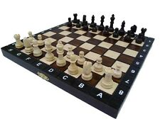 "10.5"" EUROPEAN SCHOOL CHESS SET - ORNATE FOLDING BOARD HAND CRAFTED!!!"
