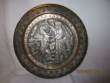 """VTG Tinned Copper Hand Etched Shahnameh Persian Tray style Ghalamzani 11"""" Plate"""