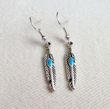 Antique Silver & Turquoise Feather Drop / Dangle Earrings, Ladies Gift