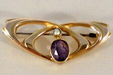 Stunning Murrle Bennett Art Nouveau 9ct Gold Amethyst & Pearl Brooch