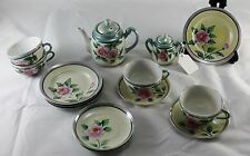 Vtg Childrens Tea Set Floral Luster Japan Tea Pot Plate Cup Sugar Bowl 16 Pc