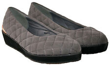 LADIES GREY EEE FITTING FAUX SUEDE SHOW WITH WEDGE HEEL AND GOLD TRIM IN SIZE 6