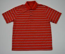 GRAND SLAM MEN'S LARGE RED STRIPED MOISTURE WICKING PERFORMANCE GOLF POLO SHIRT