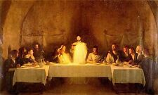 "Stunning Oil painting Christ Jesus & Christians - The Last Supper canvas 24""x36"""