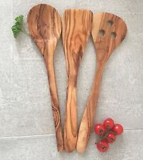Cooking Utensil Set 3pc Olive Wood / Spatula, Spoon, Flipper handcrafted 12''