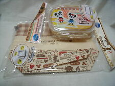 DISNEY Mickey and Minnie  Bento Lunch Box 300ml with lunch bag from japan