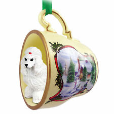 Poodle Dog Christmas Holiday Teacup Ornament Figurine White