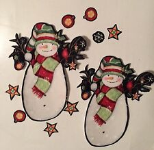 4 Large Christmas Snowmen  - Iron On Fabric Appliques - Craft Show Projects