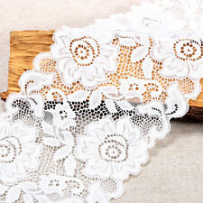 EL11- 3m x15cm IVORY White Vintage ELASTIC Lace Bridal Wedding Trim Ribbon CRAFT