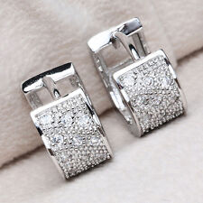 Fashion Women Jewelry Crystal 925 Silver Hoop Dangle Earring Stud Wedding