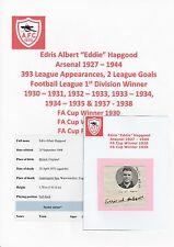 EDDIE HAPGOOD ARSENAL 1927-1944 VERY RARE ORIGINAL HAND SIGNED CUTTING & MAG PIC