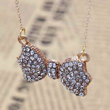 Eye-catching Crystal Rhinestone Gold Tone Bowknot Bow Chain Pendant Necklace JB