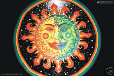 Psychedelic Art Sun and Moon Poster UV Black Light Fluorescent Glow In The Dark