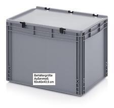 Stabile Allzweck Aufbewahrungskiste mit Scharnier-Deckel 60x40x43,5 Stapelboxen