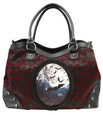NEW Banned Gothic Burgundy Red Ivy Flocked Bats Moon Handbag Extra Strap Black