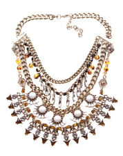 Alison Gold Chain Diamanté Fringe & White Stone Flower Statement Necklace(Ns16)