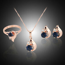 Gold plated women wedding pendant necklace earring ring jewelry set HU
