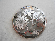 Round Vintage 900 Sterling Silver Handarbeit Floral  Brooch  035010