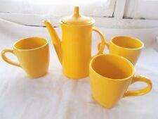 Buffalo China Electric Tea Pot Yellow + 3 Coffee Mugs Cups Lemon Drop Retro
