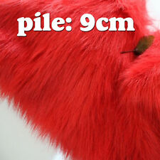 """Red SHAGGY FAUX FUR FABRIC LONG PILE FUR costumes photography backdrops 60"""" BTY"""