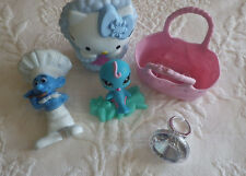 Lot of 5 Miscellaneous Toys Hello Kitty Smurf Little Pet Shop Basket Ring Girls