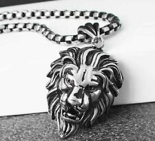 Fashion Heavy 316L Stainless Steel Boy&Men's Lion Pendant Necklace Silver Black