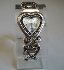 SILVER FINISH  HEART SHAPE DESIGNER STYLE WOMEN'S BANGLE CUFF  WATCH