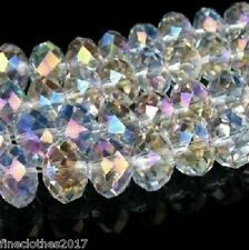 140Pcs white clear AB Crystal Glass Faceted Rondelle Loose Beads 8X6mm