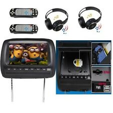 "1 Pair 9"" LCD Car Pillow Headrest Monitor DVD Player Games USB+ 2 IR Headphones"