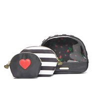 Betsey Johnson Black Stripe Away We  Go  Cosmetic  Bag Set  NWT