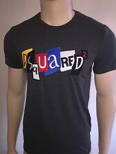 ****Dsquared2 Patchwork XL Charcoal Grey T-Shirt 2016 Winter Collection BNWT