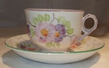 Phoenix China Thomas Forester Tea Cup and Saucer Floral Pattern Purple and Green