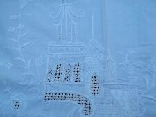 """Vtg White Tablecloth Alter Cloth Church Angel Flower Embroidery 29"""" x 41"""" TC49"""