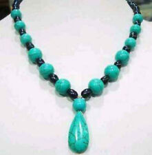 7-8mm Black Natural Pearl & Blue Turquoise Jewelry Necklace 18""