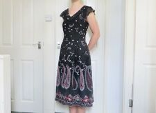 STEILMANN Floral Paisley Grey Navy Red White Cap Sleeve Long DRESS Size UK 10