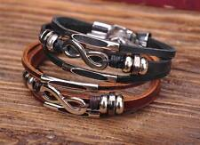 G118 2pc Cool Metal Infinity Surfer Leather Mens Wristband Bracelet Cuff New
