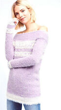 NEW NWT $118 ANTHROPOLOGIE OFF SHOULDER HEATHER VIOLET FUZZY FAROE SWEATER XL