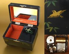 Vintage Japanese Tokyo Pigeon Lacquered Wooden Jewelry / Music Box, Mirror