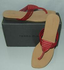 TERRA PLANA MAPUTO WOMENS ECO RED LEATHER HAND STITCHED SANDALS SIZE 7UK