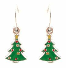 Zest Small Christmas Tree Drop Earrings with Baubles for Pierced Ears