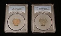 1943 COPPER and 1944 STEEL CENTS= OFF-METAL LINCOLN PENNIES=AUTHENTIC=PCGS