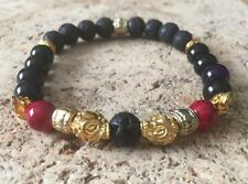 Mens Beaded Bracelet Handmade Lava Stone, Agate Stone Bead Gold Plated Skull 8mm