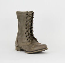 STEVE MADDEN TROOPA STONE LEATHER BOOTS