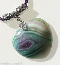 #6439 -- PURPLE CORD NECKLACE PURPLE GREEN ONYX AGATE HEART PENDANT -WOW!