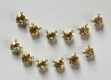 VINTAGE 12 CRYSTAL CLEAR RHINESTONE 2 HOLE CONNECTOR TINY DOLL BEAD 5mm
