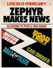 Mercury Zephyr Press Reports 1978 USA Market Sales Brochure