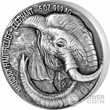 ELEPHANT Big Five Mauquoy 5 Oz Silver Coin 5000 Francs Ivory Coast 2017