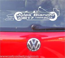 jules bianchi RIP F1 CAR STICKER GRAPHIC x1 ANY COLOUR !!!