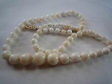 Vintage Angel Skin Coral Strand Beaded Necklace with 14K Yellow Gold Clasp 19""